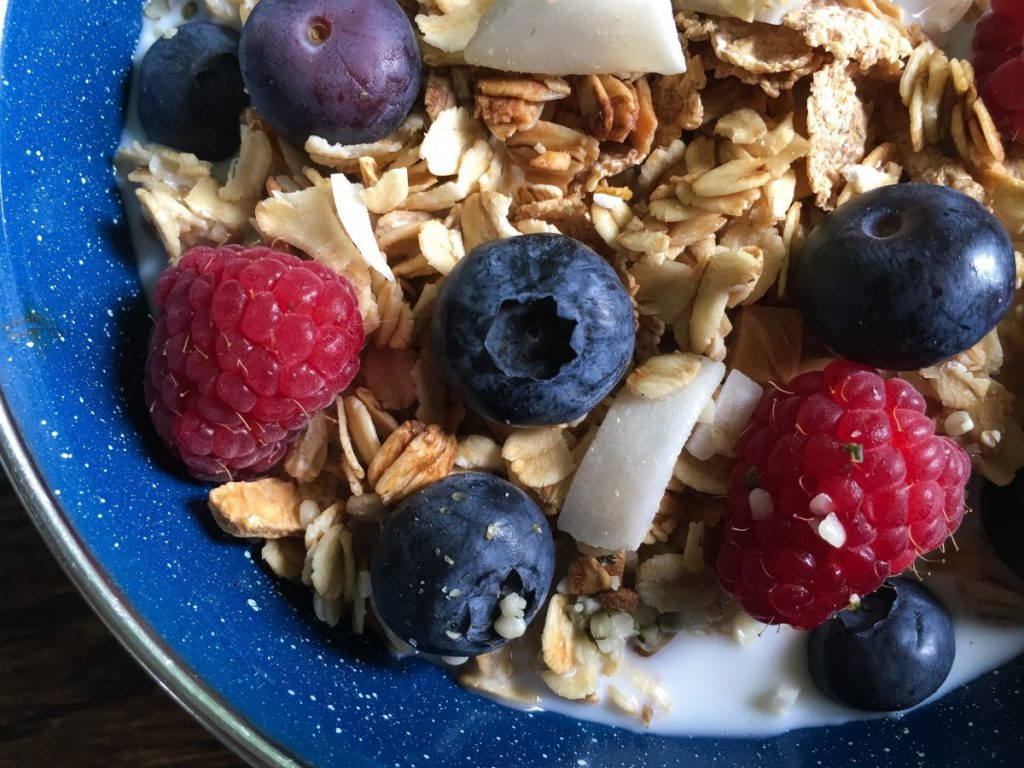 Granola and fruit is a good way to increase the fibre you eat for breakfast.